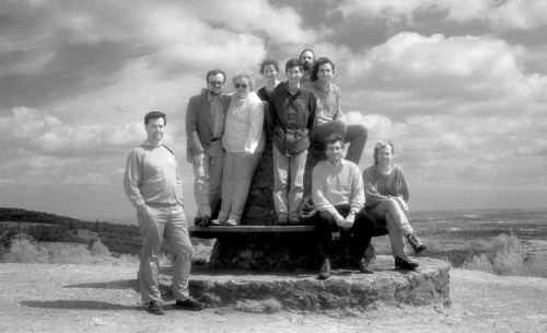 Fiona joined the RSG in 1988 to work for her MSc. The first photo I can find is from 1991 – taken with Infra-red film on one of the regular RSG hikes up Holmbury Hill to the trig point overlooking the Weald. (The couple standing to Steve's left were visitors.) Chris Rapley