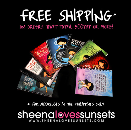Sheena Loves Sunsets now offers free shipping to addresses in the Philippines for orders that total 500 php or more!  All items are included in this offer so feel free to mix and match items! Visit the online store now by clicking here!  Have you purchased Sheena Loves Sunsets items already before? Tag us on Tumblr or Twitter or send us an email at hello@sheenalovessunsets.com of your photo with your SLS items and you might be featured on our Facebook page next! :)