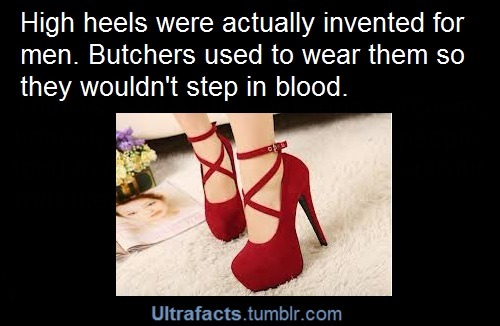 ultrafacts:  For more posts like this, follow the Ultrafacts Blog!    Women wear heels now so we don't have to step in the blood of our enemies   Reblogging for that comment
