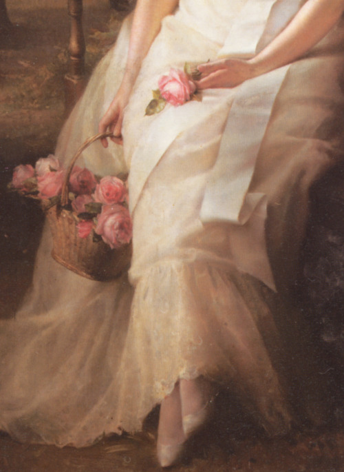 c0ssette:  The Debutante,detail,Edward Robert Hughes,1886.