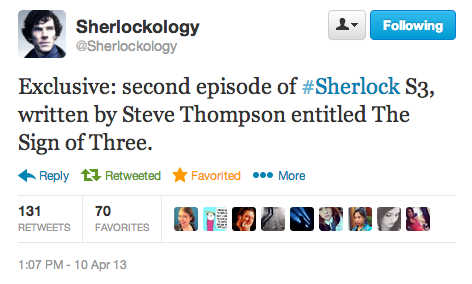 This is from Sherlockology, not directly from a cast/crew member, but it's legitimate.
