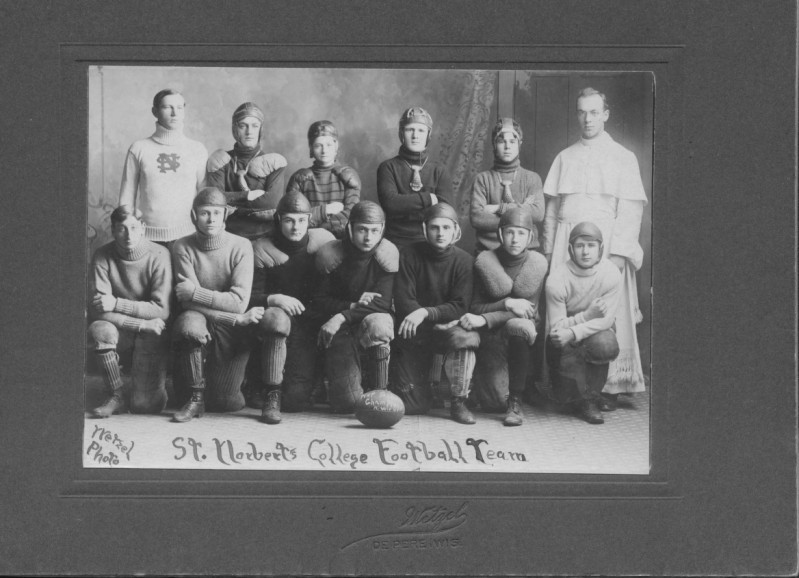 "St. Norbert College football team, De Pere, Wisconsin, 1907. The football at the center reads ""Prep School Champions N. Wis. '07."" via: Mulva Library, St. Norbert College"