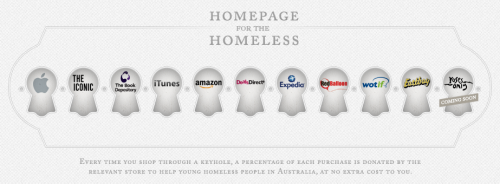 Homepage for the Homeless from Australian NPO Ladder raises money to tackle young homelessness by raising donations on purchases through the site.
