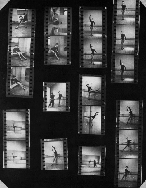 Contact sheets of Audrey Hepburn being photographed while dancing in the early 1950s.