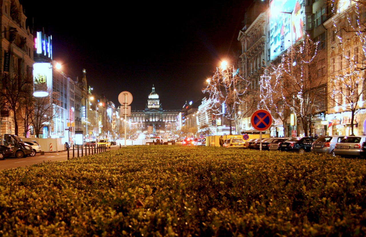 St. Wenceslas Square during Christmas, 2008.