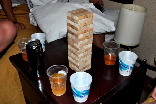 Started our night with a game of Jenga.