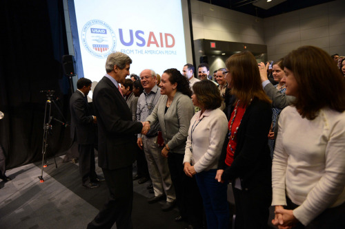U.S. Secretary of State John Kerry speaks with U.S. Agency for International Development (USAID) employees at the Ronald Reagan Building in Washington, D.C., February 15, 2013. [State Department photo/ Public Domain]