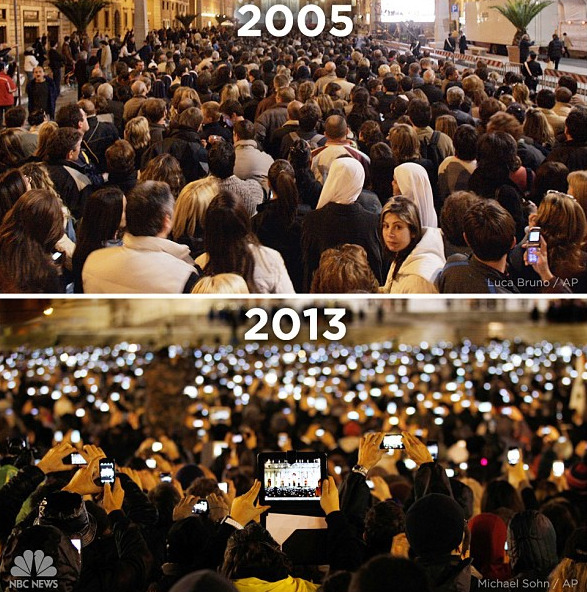 parislemon:  digg:  St. Peter's Square in 2005 and 2013. What a difference 8 years makes.  I spy a RAZR. This is amazing.  While it makes for a beautiful picture, I think it's a little sad that we now live our lives through a small, glowing LCD, rather than just enjoying the moment. I'm as guilty of it as anyone, just not with an iPad for a camera.
