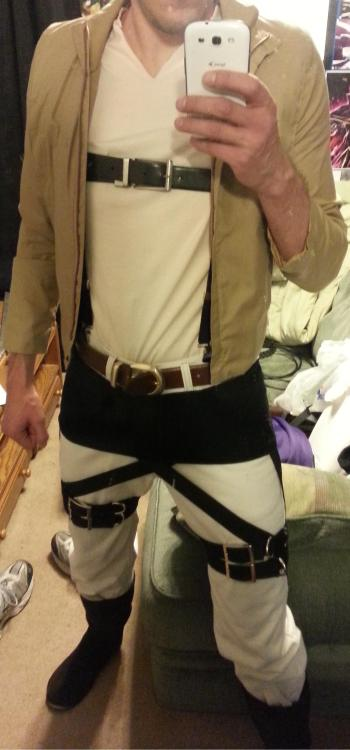 Preview of my Attack on Titan cosplay.Will debut the finished product, complete with three dimensional maneuver gear, at Fanime 2013!
