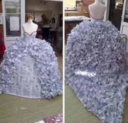 autocrate:  An art student in the UK did this piece for her final. A wedding dress completely made out of divorce papers.