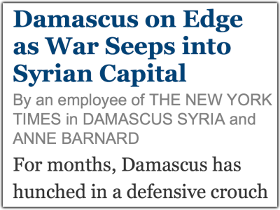 By an Employee of the New York Times in Damascus Syria and Anne Barnard