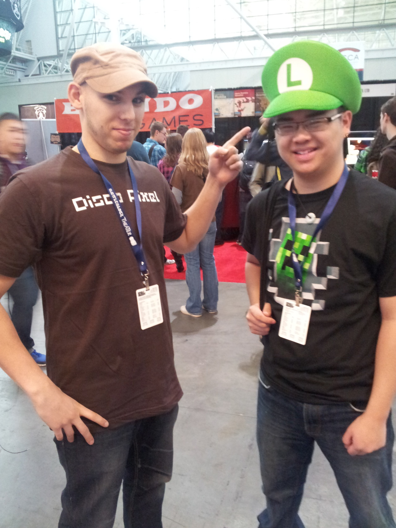 Luigi hanging out at PAX East with, uh, Luigi.