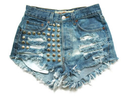 (via Studded denim high waist shorts XS by deathdiscolovesyou on Etsy)