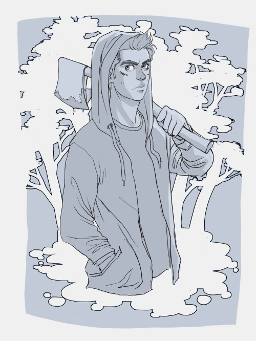 For centa0592 who asked for a BAMF!Stiles holding an ax just when i get used to drawing stiles with a buzz cut he grows hair dear lord