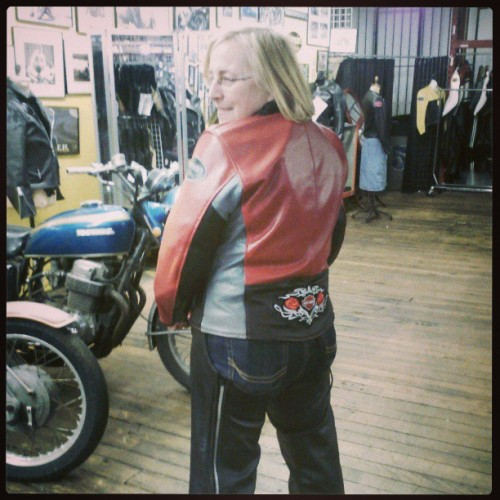 One of my favorite customers, Dianne, came in to get a fancy Harley Patch put on the back of her custom Ladies Drifter.  New pair of chaps, a happy smile, and she is ready to ride home!