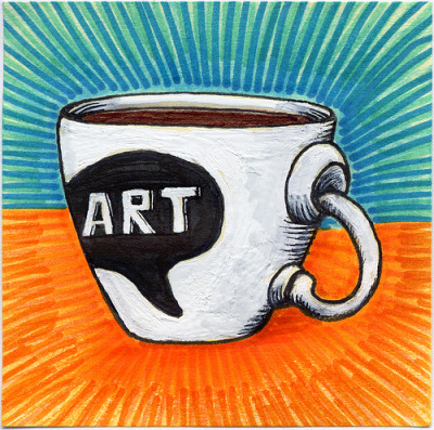 "I drew you a work of Art mug of coffee Inspired by  this wonderful mug by artist Amelia  (ladypilot84). I added the Art Bubble but her mugs are truly works of art. This is part of my ""The Daily Coffee"" marker drawing series."