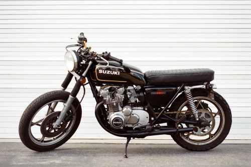 "garageprojectmotorcycles:  Got a submission form http://shootfromtheship.tumblr.com/ Looks like some quality work and cracking fun to ride with those bars. Got a couple of special bikes coming up so keep the submissions coming guys. ""This is my '78 Suzuki GS550. It was completely stock when I got it from a friend for $800 a little over a year ago. I've done most of the work on it myself, with some help from a friend who's a mechanic.  She's a little dinged up and a little funky, but I love her. -Shane"""