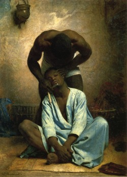 blackcontemporaryart:  cavetocanvas:  Léon Bonn, The Barber of Suez, 1876  This just reminds me that I need to save all my money and by the Henry Louis Gates book series.
