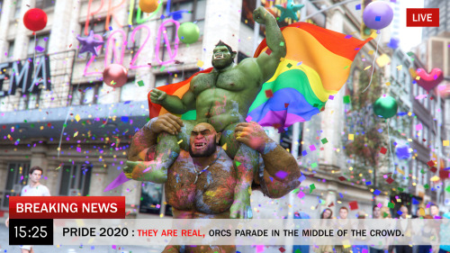 """Oh shit ! They are real?""  Imagine that this happens to you in the parade, what would be your reaction? Happy Pride 2020 to all! #3d #happy pride 🌈 #pride 2020#orcs#ad games"
