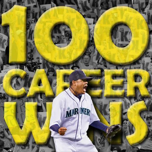 Congratulations to Félix Hernández on achieving his 100th career win at the age of 27.