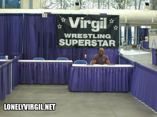 This is the photo that started it all, Virgil #Lonely several years ago at the San Diego Comic Con.  It has become a sensation, and the subject of a very famous YTMND page.  Much more famous than Virgil.
