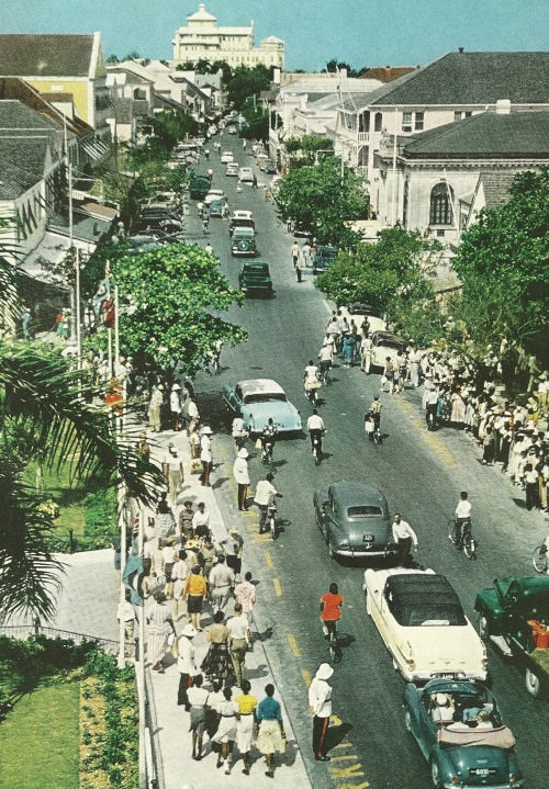 theresnolovewithoutstruggle:  vintagenatgeographic:  Bay Street in Nassau, Bahamas National Geographic | February 1958  I'm going there this summer