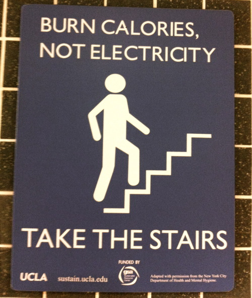 The sign in the Public Affairs Building at UCLA. I always take the stairs. Be Eco-Friendly this week and take the stairs. Earth Day is coming up and in light of the current circumstances on the news, we can all look forward to a week of appreciation to the Earth.
