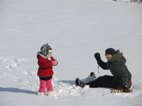 me getting my ass beat in a snowball fight by my 5 year old niece.