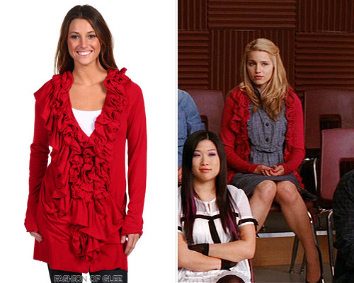 LOOK FOR LESS: This ruffled cardigan is a dead ringer for Quinn's uber-popular Anthropologie cardigan from 'The Power of Madonna' - and it's less than $22! Blue Tassel Ruffle Trim Open Cardigan - $21.99 The Real Look: Anthropologie cardigan
