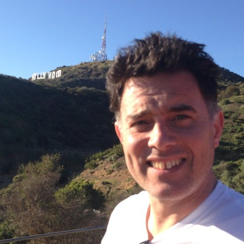 The Hollywood sign and I. (at Griffith Park)