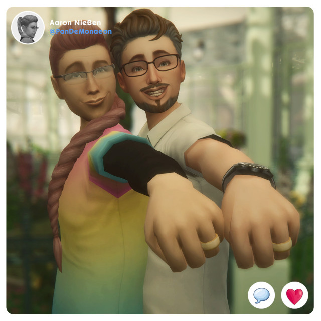 """Pride Month SelfiesAaron Nießen   Pansexual & Gunther Nießen, nee Munch   GayAaron: """"Weird how these little symbols of endless love can be so offensive.""""Welcome  to the save that inspired Malachai's Maze! Let's start with the  LGBTQIA+ members of the Munch family. Aaron and Gunther are happily  married and share their apartment with Aaron's daughter Christina and  their granddaughter Monika. Unfortunately, I can't tell you more about  them right now, out of all saves this one is acting up since I patched  TS4 to the latest version.Btw. Aaron has two children actually: Christina and her brother Mike. #TiallusSims#MySims#MyTownies#ts4#thesims4#lgbtq#lgbtqia#lgbtq+#lgbtqsims#pridemonth#simspride#pridemonth2021 #pride month 2021 #Aaron Nießen#Gunther Nießen#Gunther Munch"""