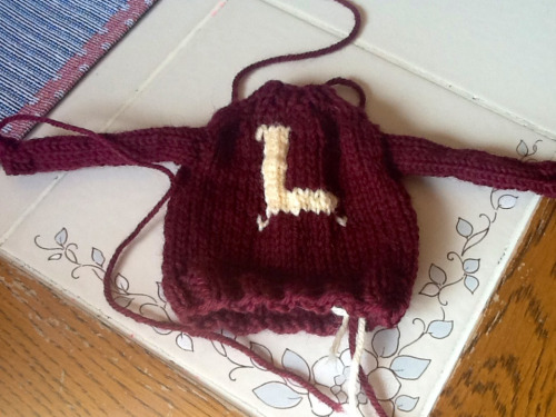 I made a Weasley sweater for my friend. She demanded I knit her one, but never specified what size. ;) it took about 5 or 6 hours and I just made up the pattern as I went along.