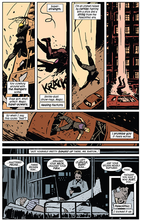 fairestcat:  Paleolithic. I looked it up. — From Hawkeye #1 by Matt Fraction, art by David Aja