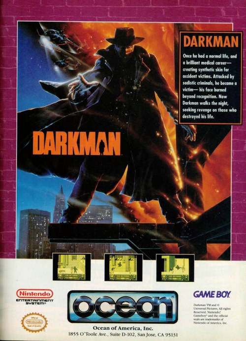 Ad for Darkman on the Game Boy.
