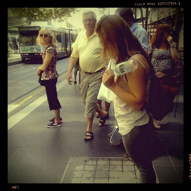 Waiting for the tram. #streetphotography #streetlife #bourkestreet #melbourne #victoria #australia #samsung #galaxyy #pixlrexpress #86tram  (at Paul Sadler Swimland)