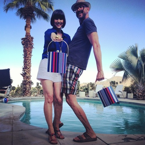 Trina Turk and Mr Turk over the weekend in Palm Springs, California featuring Trina Turk's stripe ice bucket for the Chandon Champagne collaboration.          Follow Mr Turk on Facebook, Pinterest, Twitter, Instagram, and Trendabl