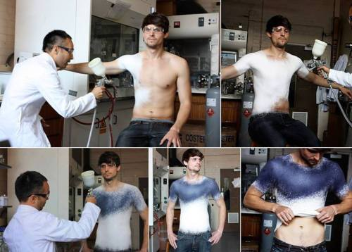 Spanish fashion designer Manel Torres invented the world's first clothes-spray, which after application to the body can be removed, washed and worn again. Spray consists of special fibers mixed with polymers, so that the product obtained elastic and durable.  Video here