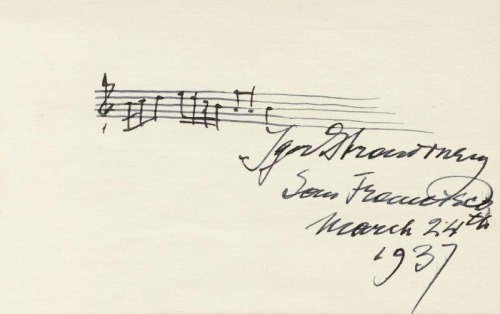 "thepianoblog:  eskisanat:  Igor stravinsky  Opening notes from the Russian Dance, ""Petrushka"""