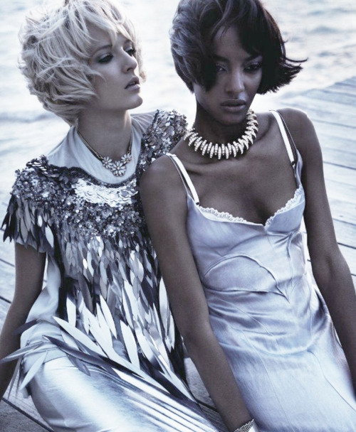 "stopdropandvogue:  Jourdan Dunn and Daria Strokous in ""Swept Away"" for Vogue Nippon April 2012 photographed by Josh Olins"