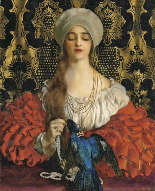 tuthmosis:  pre-raphaelisme: The Bluebird by Frank Cadogan Cowper this is the most perfect painting ever let me marry it  Frank Cadogan Cowper R.A The Bluebird (1918) Oil on canvas. (88.4 x 71.1 cm.)