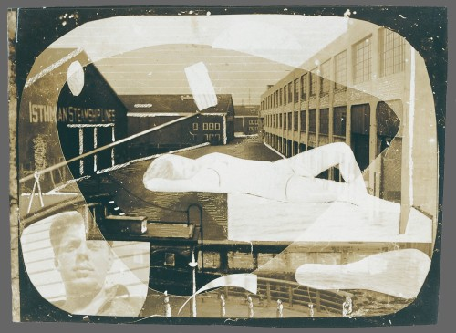"""Waterfront Scene with Collaged Elements: Reclining Women, Self-Portrait""  by David Smith."