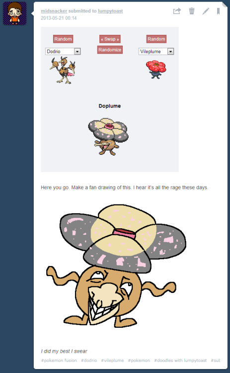 Pokemon Fusion fan drawings.
