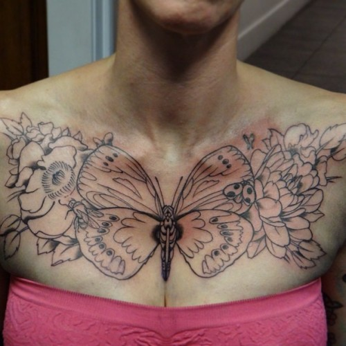 #tattoo #chickswithtattoos #thebutchersavannah #chestpiece #butterfly #dahlia #rose #bumblebee #ladybug #linework #boobs #blondes #ink #tattoooftheday #bestink