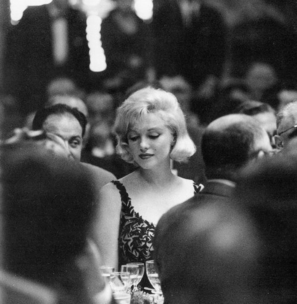 Marilyn Monroe at a party for Nikita Khrushchev's visit to Fox Studios, 1959