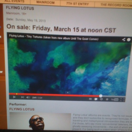 Omg. @flyinglotus & thundercat @firstavenue May 19th. Best news all fucking year. Shablam!!