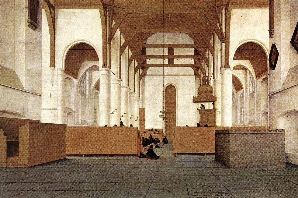 centuriespast:  SAENREDAM, Pieter JanszInterior of the Church of St Odulphus, Assendelft1649Oil on panel, 50 x 76 cmRijksmuseum, Amsterdam