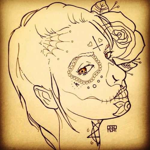 thugxwife:  Me. Drawn by @deadmeat ❤  Sexy if tat this