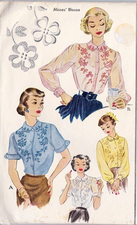Love these 1950s Embroidery Transfer sewing pattern illustrations! source: theniftyfifties