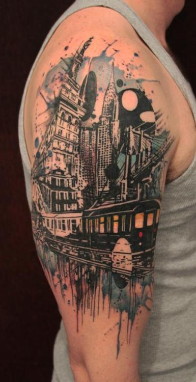 thestarlighthotel:  City arm tattoo | by Gene at Tattoo Culture