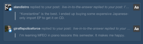 Alan, this is why we're friends. Brogan, I'M SO JEALOUS. Jack's Mannequin has always made me wish I never gave up piano. You should play it for me sometime. :)